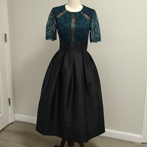Monique Lhullier lace sheer emerald pleated dress